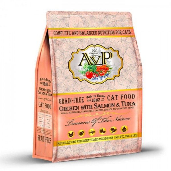 AVP 鮮肉無穀物蔬果 雞肉+三文魚+吞拿魚 全貓糧 (5LB, 15LB)